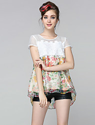 Boutique S Women's Going out Cute Summer BlouseFloral Round Neck Short Sleeve White Silk Sheer