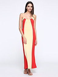 Women's Party Sexy Loose Dress,Color Block Strap Maxi Sleeveless Red / Black / Green Cotton Summer