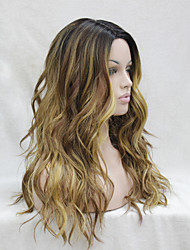 Quality Heat Resistant Medium Brown With Light Auburn And Golden Blonde Three Tone Ombre Wavy Lace Front Long Wig