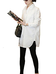 Women's Solid White Shirt , Shirt Collar Long Sleeve
