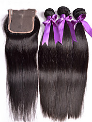 Indian Virgin Hair With Closure 3 Bundles Indian straight Hair With Closure 4x4  Lace Closure With Bundles