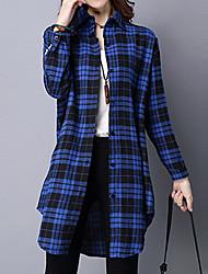Feminino Camisa Casual Vintage Todas as Estações,Xadrez Azul / Vermelho Poliéster Colarinho de Camisa Manga Longa Média