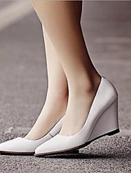 Homme-Extérieure-Noir / Blanc-Talon Compensé-Talons-Chaussures à Talons-Cuir