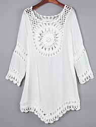 Tee-shirt Femme,Couleur Pleine Décontracté / Quotidien simple Automne Manches Longues Col Arrondi Blanc Coton Moyen