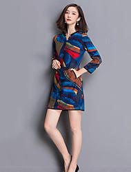 Gaine Robe Femme Grandes Tailles Sophistiqué,Imprimé Col en V Au dessus du genou Manches Longues Bleu Polyester Automne Taille Haute