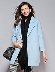 Women's Casual/Daily Simple Trench Coat