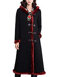 Spring/Winter Women's Casual Formal Vintage Folk-custom Coat Patchwork Hooded Long Sleeve Black