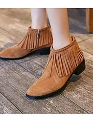 Для женщин Ботинки Замша Весна Осень Зима С кисточками На низком каблуке Черный Верблюжий Менее 2,5 см