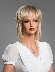 Charming Straight  Wig With Inclined Bangs  Human Hair Mixed Color 14 Inch