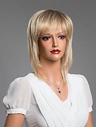 очаровательный прямой парик с наклонными челки человеческих волос смешанный цвет 14 дюймов