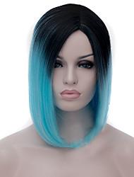 perruques cosplay gradient noir peu profond points de perruques bleues bobo perruque courte de 12 pouces