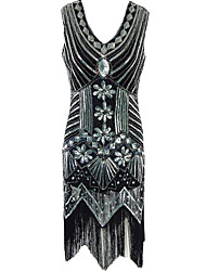 Women's Formal / Party Vintage 1920s Sheath Dress,Paisley Tassel V Neck Midi Sleeveless Black Polyester