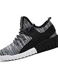 Femme-Sport-Noir / Gris-Talon Plat-Bout Arrondi-Sneakers-Tissu