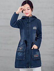 Women's Casual/Daily Simple Fall Denim JacketsLetter Hooded Long Sleeve Blue Others Thick Cowboy