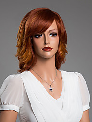 onduleux naturel charmante perruque avec une frange vierge cheveux humains couleur secondaire 14 pouces