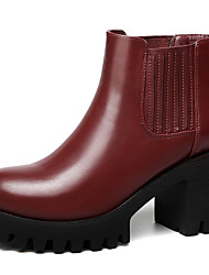Women's Boots Winter Fashion Boots Leatherette Wedding / Party & Evening / Dress Chunky Heel Others Black / Red Others