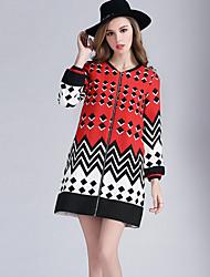 Eosciy® Damen Rundhalsausschnitt Lange Ärmel Pullover & Cardigan Rot / Grün-80410