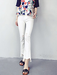 Women's Solid White Jeans / Bootcut PantsVintage Summer