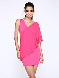 Women's Casual/Daily / Plus Size Sexy Bodycon Dress,Solid V Neck Mini Sleeveless Pink Polyester Summer