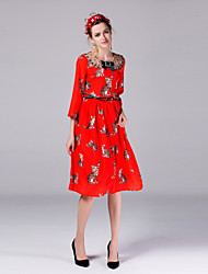 Boutique S Women's Going out Cute Swing DressAnimal Print Round Neck Knee-length  Length Sleeve Orange Summer