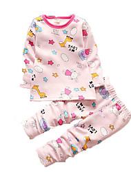Menina de Roupa de Dormir,Casual Estampado Algodão Outono Rosa