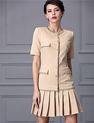 Baoyan® Femme Col Arrondi Manches 1/2 Au dessus des genoux Robes-160351
