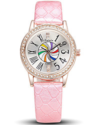 Women's Fashion Cool Quartz Casual Watch Leather Belt Multi-colored Classical Round Alloy Dial Watch Unique Watch