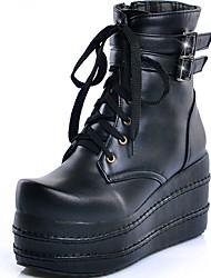Feminino-Saltos-Plataforma Botas Montaria Botas da Moda Inovador Botas de Cowboy Botas de Neve-Rasteiro Plataforma-Preto Branco-Sintético