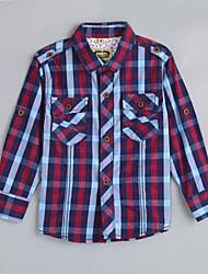 Menino de Camisa,Casual Houndstooth Algodão Outono Vermelho