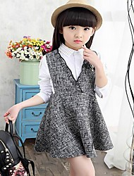 Girl's Gray Dress,Floral Acrylic All Seasons