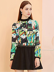 I'HAPPY Women's Going out Vintage A Line DressFloral Crew Neck Above Knee Long Sleeve Green