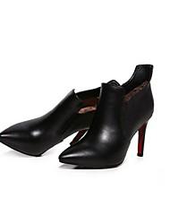 Черный-Женский-Для прогулок-Кожа-На шпильке-Ботинки-Ботинки