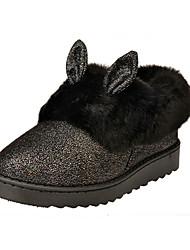 Women's Flats Winter Snow Boots / Round Toe /Outdoor / Casual Flat Heel Sequin / Fur / Slip-onBlack / Pink / Gray