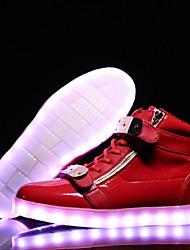 Feminino-Tênis-Conforto Light Up Shoes-Rasteiro-Azul Vermelho-Courino-Casual Para Esporte Festas & Noite