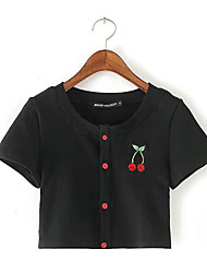 Tee-shirt Aux femmes,Imprimé Décontracté / Quotidien Sexy Eté Manches Courtes Col Arrondi Noir Coton Opaque