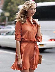Boutique S Women's Going out Vintage / Simple Loose DressSolid Shirt Collar Above Knee  Sleeve Orange