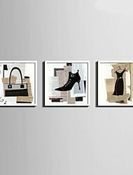 E-HOME® Framed Canvas Art, Female Fashion Element Framed Canvas Print Set Of 3