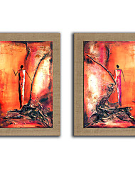Oil Painting Modern Abstract People Set of 2 Hand Painted Natura Linen With Stretched Frame