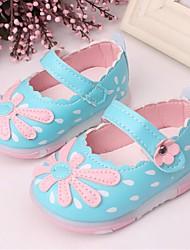 Para Meninas Bebê Rasos Couro Ecológico Verão Casual Velcro Rasteiro Branco Fúcsia Azul Rosa claro Rasteiro
