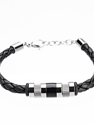 Simple Silver Titanium Steel Black Real Leather Bracelets Christmas Gifts