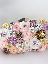 Women Silk Sequins 3D Flower Formal / Event/Party / Handmade Customized Wedding Evening Bag
