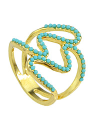 Blue Beads Big Finger Rings