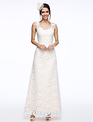 LAN TING BRIDE Sheath / Column Wedding Dress Floral Lace Ankle-length Straps Lace with Lace