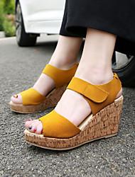 Mujer Sandalias Ante Verano Vestido Paseo Tacón Cuña Negro Morado Amarillo Almendra 5 - 7 cms
