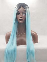 mode longue ligne droite en dentelle synthétique perruque avant glueless bule lumière noire couleur mélangée pour les femmes afro