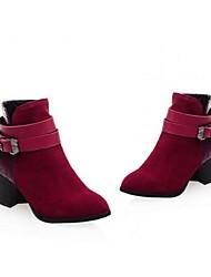 Damen-Stiefel-Outddor-PU-BlockabsatzSchwarz Rot Mandelfarben
