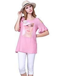 Damen Patchwork Einfach Lässig/Alltäglich T-shirt,Rundhalsausschnitt Sommer Kurzarm Rosa Polyester Dünn