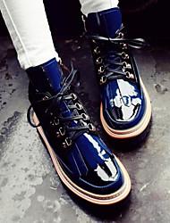 Синий-Женский-Для прогулок-Кожа-На танкетке-Военные ботинки-Ботинки