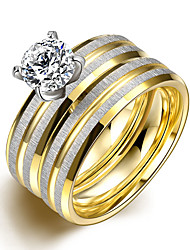 Ring Fashion Party Jewelry Gemstone & Crystal Women / Men Engagement Ring / Band Rings 2pcs6 / 7 / 8 / 9 Gold / Silver