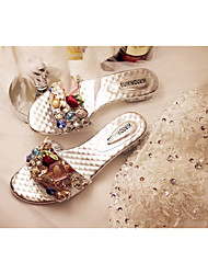Damen-Slippers & Flip-Flops-Lässig-Kunstleder-Blockabsatz-Fersenriemen-Silber